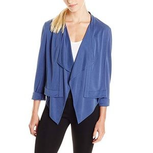 BCBG MaxAzria blue Donnie draped blazer jacket